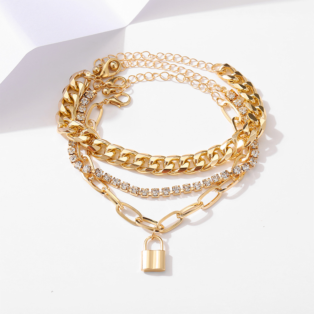 punk style creative thick chain lock pendant microinlaid 3layer anklet NHPJ367584