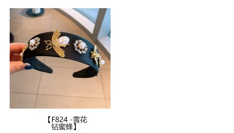 retro baroque big diamond bee headband  NHHD308053