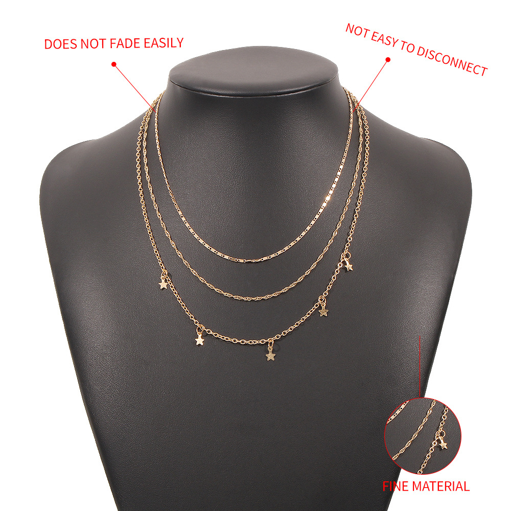 new fivepointed star geometric multilayer clavicle chain NHMD367518