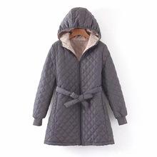 欧美女装批发19冬新款 中长款内衬毛绒系带连帽棉衣外套女D8025
