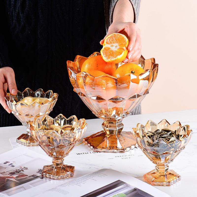 厂家批发 高脚玻璃琥珀色果斗七件套玻璃水果捞小碗家用零食碗
