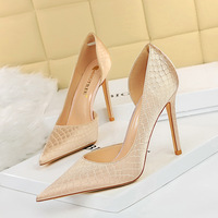 3165-1 the European and American fashion sexy party with ultra fine with lighter side hollow out serpentine silk single shoe heels