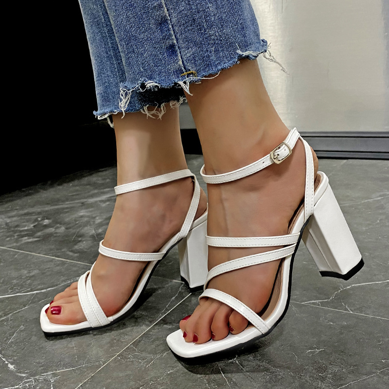 High Heels Women's Large Size Sandals Thick Heel Square Toe Women's Shoes