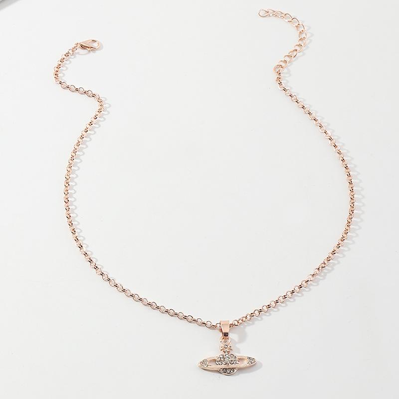 Creative Micro-studded Saturn Necklace  NHNZ316304