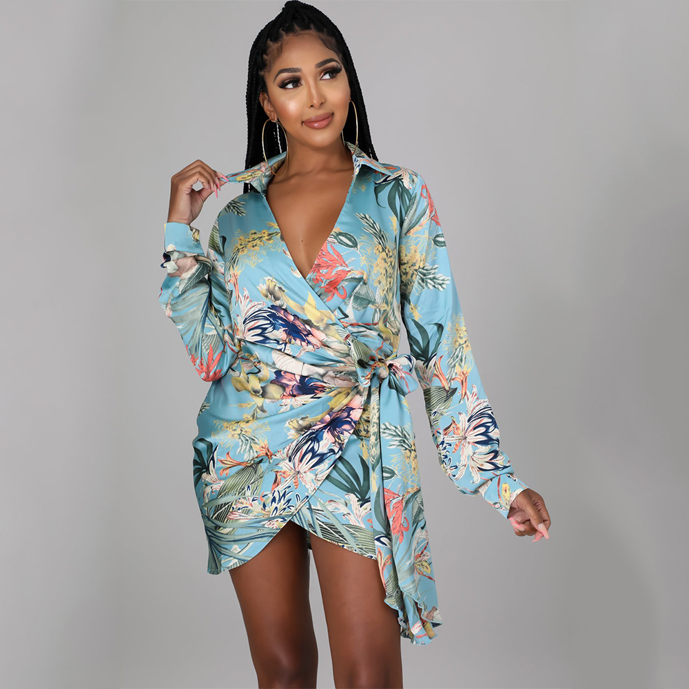 women's lace printing long-sleeved dress nihaostyles wholesale clothing NSOSD78365