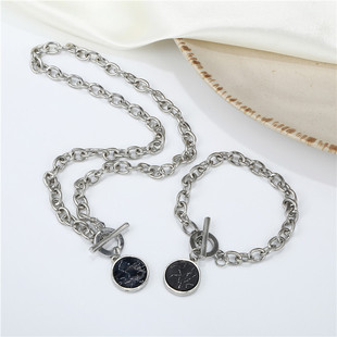 European and American personality minimalist style round clavicle chain marble pattern chain casual short necklace bracelet bracelet accessory combination