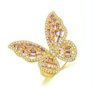 (Monthly sales 10000)All-size hot micro-inlaid zircon butterfly open ring live source supply