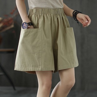 Pocket shorts women's elastic high waist casual 2021 summer literature and art loose large size solid color wide-leg five-point overalls