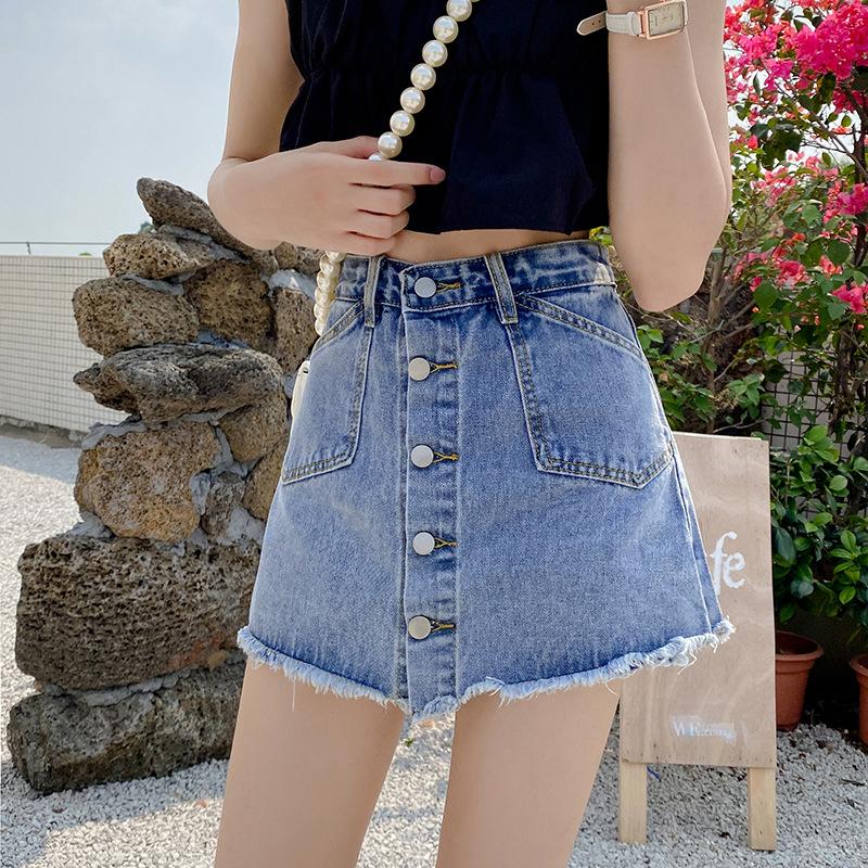 新款夏裤裙排扣牛仔短裙女高腰显瘦学生复古半身裙热裤