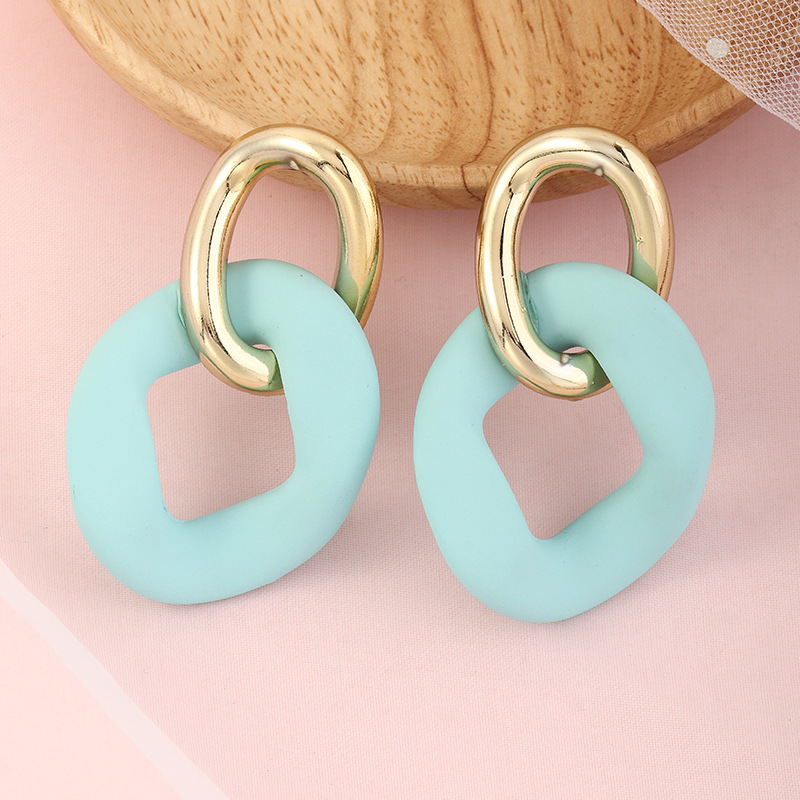 simple retro double circle earrings  NHNZ329736
