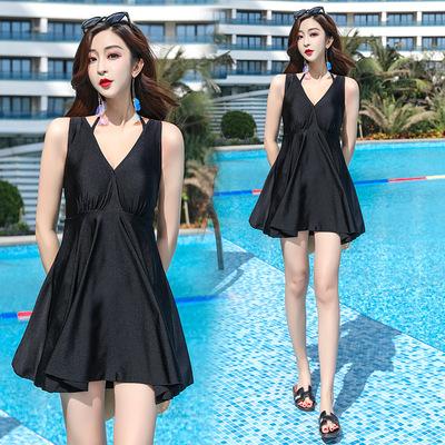 Open back low breasted swimsuit women Swimwear conservative belly covered hot spring dress women Swimwear swimming suit