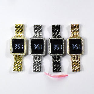 Korean version of square diamond led simple steel belt touch ladies watch casual fashion female trend electronic watch