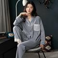厂家直供2021年新款全棉睡衣女套装翻领时尚居家睡衣春秋长袖睡衣