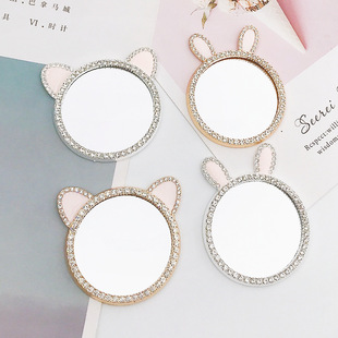 Yilian new innovation rabbit ears frame diy mobile phone case beauty jewelry accessories cat ears makeup mirror female