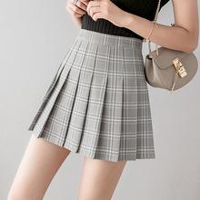 裙子2021年新款时尚高腰jk格子半身裙女百褶裙夏季黑色短裙a字裙