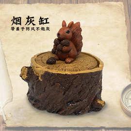跨境外贸创意卡通松鼠刺猬考拉猫头鹰动物烟灰缸家居装饰品礼品