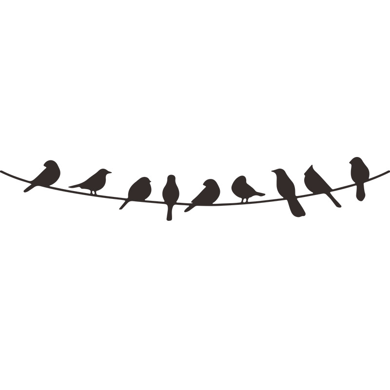 Fashion solid color simple wire bird wall stickers wholesale NHAF337027