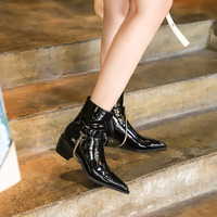 009-9 European and American wind fashion female boots, thick with high glossy patent leather with pointed nightclub metal chain short boots