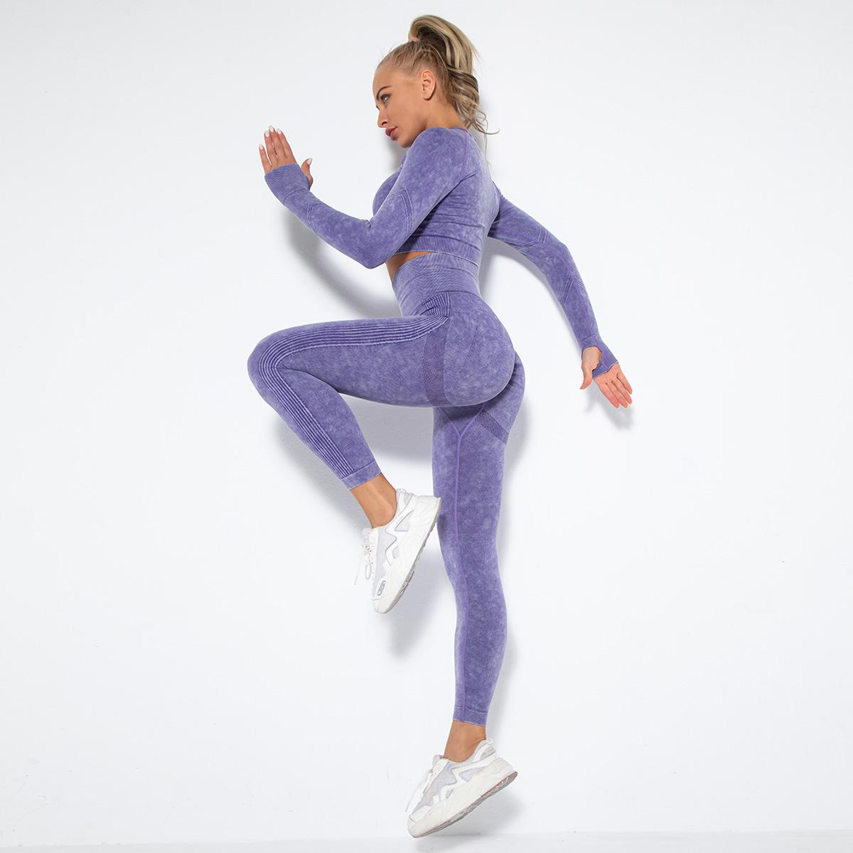 Seamless washed peach hip lifting sexy yoga set NSNS57630