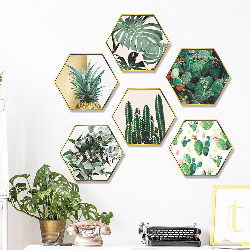 Simple Green Plant Cactus Plane Photo Frame Bedroom Wall Sticker NHAF366789