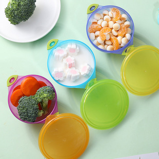 Children's suction cup bowl with lid Baby plastic-coated bowl binaural dinner plate tableware large, medium and small set