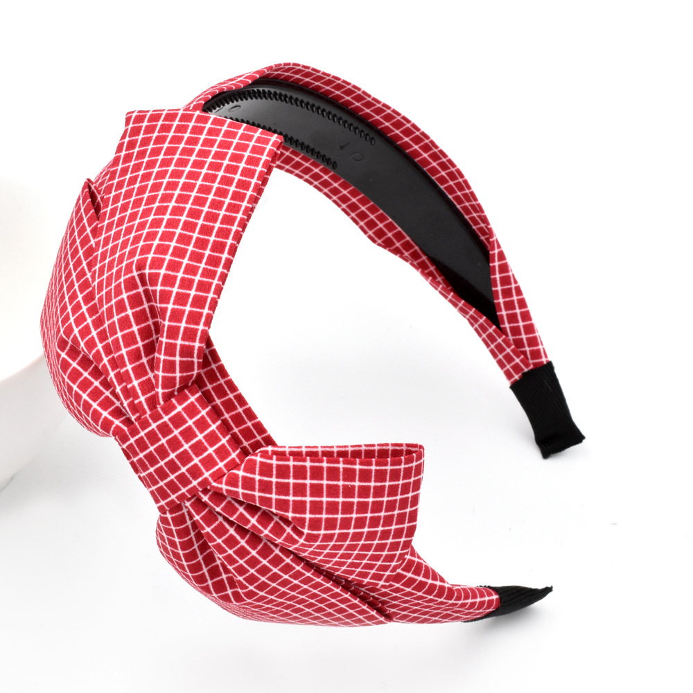bowknot plaid retro headband NHCL308100
