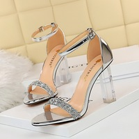 322-2 the European and American wind sexy club summer with ultra high heels transparent with sequins diamond one word with sandals