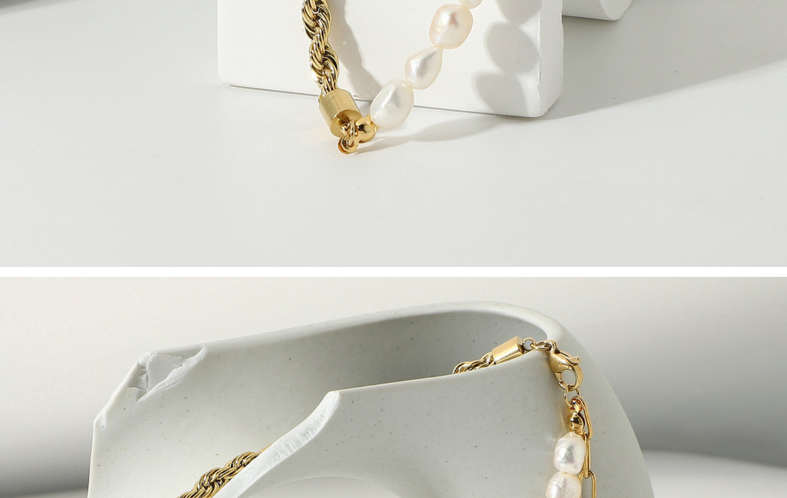 Natural Freshwater Pearl Twist Chain Splicing 14K Gold Necklace  NHJIE359050