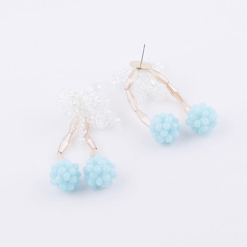 Korean fashion crystal flower bead earrings NHWJ323635