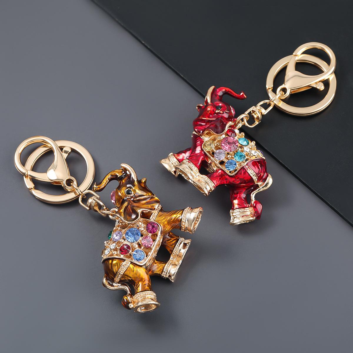 alloy diamond costume elephant keychain NHJE303097