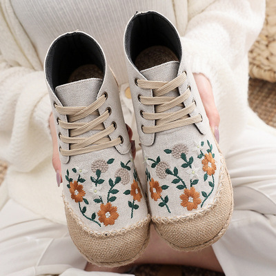 Ethnic style old Beijing embroidery flower Hanfu fairy shoes for women girls Flat heel high-top cotton linen embroidered shoes Ladies kapok shoes