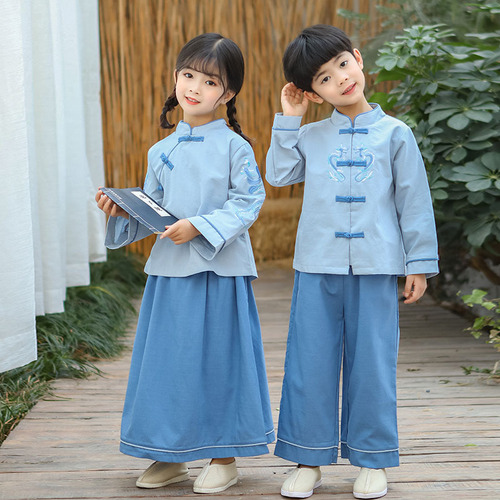 Chinese Tang suit student girl hanfu for girls boys  Republic of China style two-piece children's kindergarten choir stage performance clothing