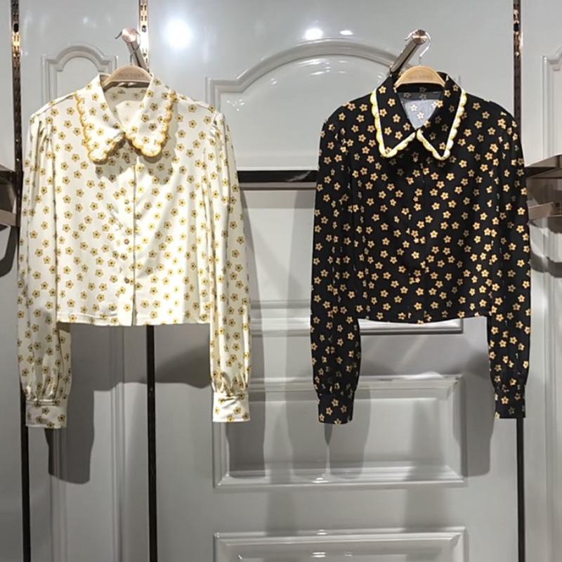 麋鹿太平鸟 市女装2021春款宽松印花雪纺衬衫长袖衬衣A1CAB1118C2