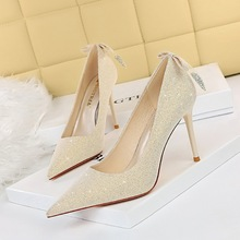 869-3 Korean fashion sexy thin thin heel high heel shallow mouth pointed shining back bow single shoes women's wedding shoes