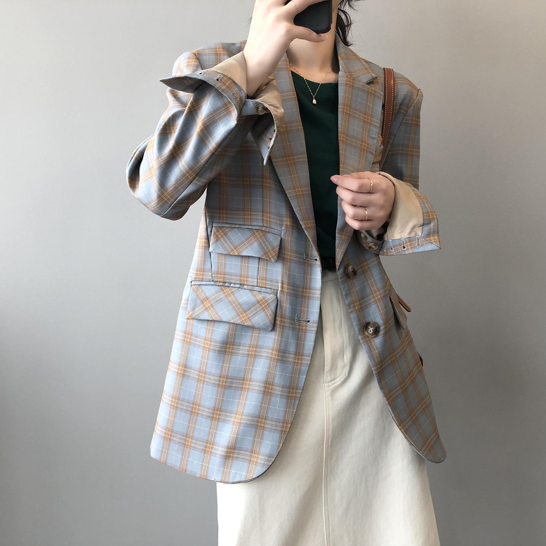 言双春季韩版时尚拼色格子西装外套女2021新款宽松休闲西服80125