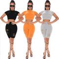 2021新款亚马逊独立站  欧美女装跨境  破洞时尚休闲两件套  套装