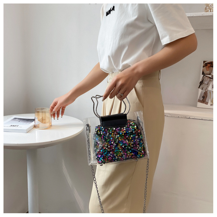 fashion transparent sequins portable messenger bag NHWH337655