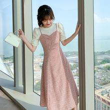 轻熟风法式衬衫吊带碎花两件套名媛小香风气质连衣裙仙女超仙森系
