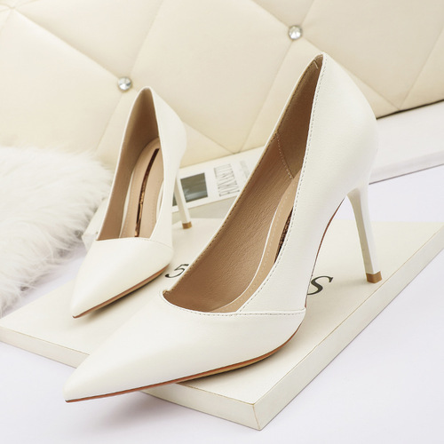 8666-13 han edition fashion pointed shallow mouth high-heeled shoes nightclub show thin and sexy single shoe heel professional OL for women's shoes