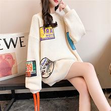 韩国2021秋冬新款宽松休闲百搭贴标加厚糖果色套头毛衣女针织衫潮