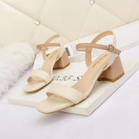6060-1 han edition fashion peep-toe heels web celebrity show thin joker sandals with a word after air thick with women's shoes