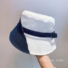 日系水洗牛仔拼接撞色系遮阳盆帽女百搭潮版渔夫帽春夏新款凹造型