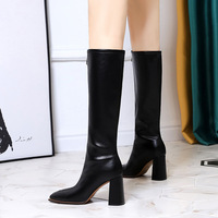 2663-3 European and American wind restoring ancient ways is thick with high fashion with square head pull chain decoration before winter boots with female boots