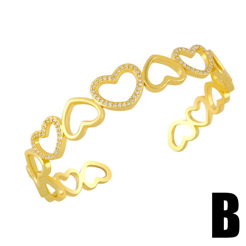 Fashion B Diamond Geometric Love Open Open Bracelet
