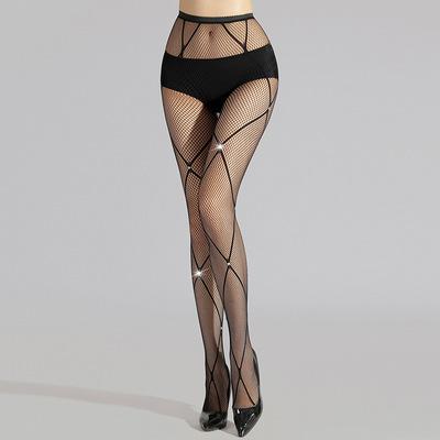 3pcs Sexy Rhombus grid hot diamonds jazz hot dance Panty hose legging for women black bling jumpsuit fishnet small mesh fishnet stockings
