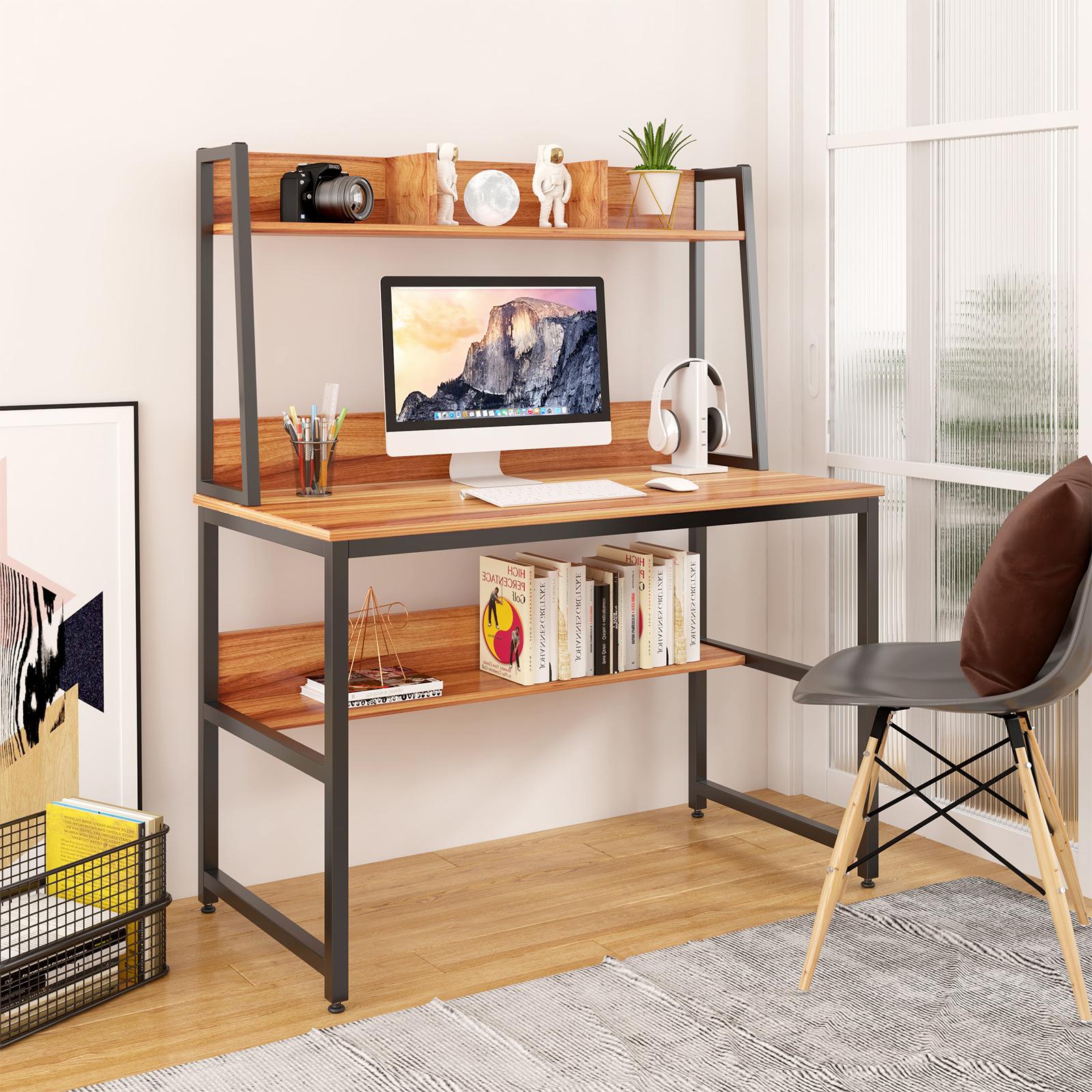 家庭办公室电脑桌,上下带储物层板,现代简约风格的电脑桌