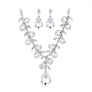European and American fashion new color water drop gemstone bridal necklace and earring two-piece set wedding party accessories in stock