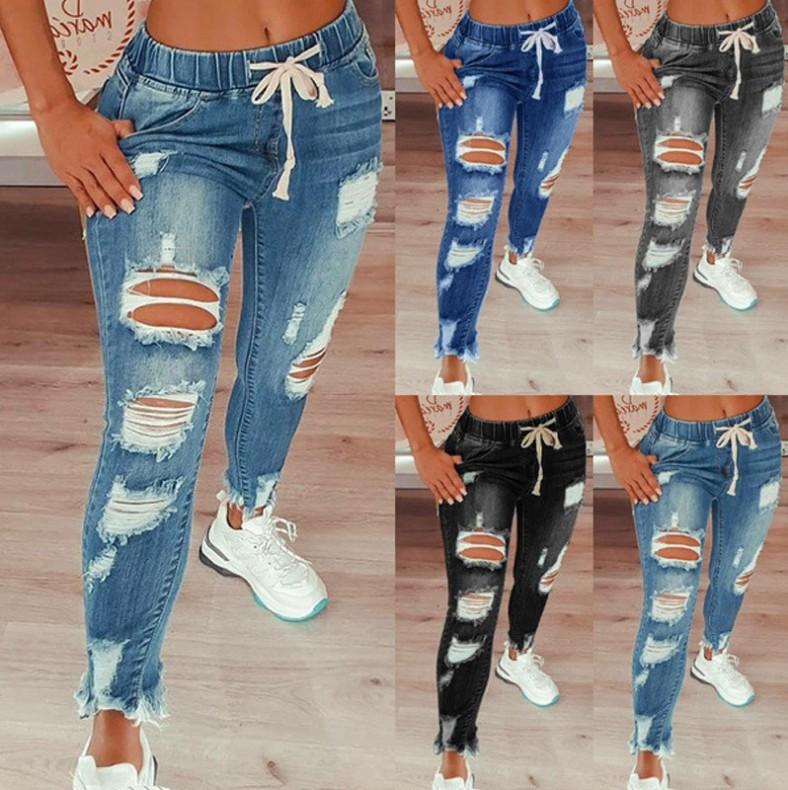 2021跨境亚马逊热销欧美女士牛仔裤修身显瘦破洞女士牛仔裤长裤