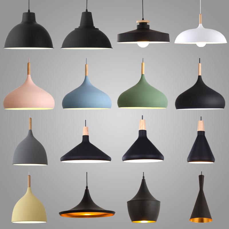 北欧简约办公室单头灯具餐厅铝材复古工业风灯罩酒店工程装饰吊灯