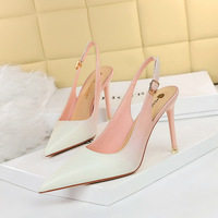 1932-9 han edition style delicate high heel with shallow mouth pointed hollow out after strappy color matching color gradient single shoes